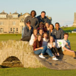 Participants in the 2016 New Links youth visit on the Swilcan Bridge